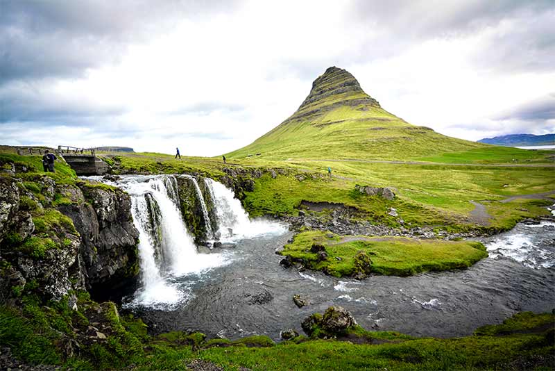 Iceland volcano and waterfalls
