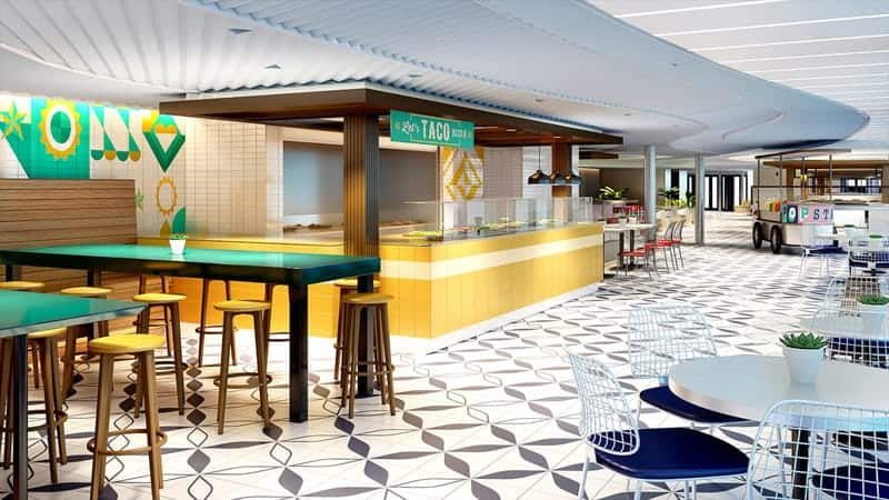 The Galley food market, Dining on Virgin Voyages