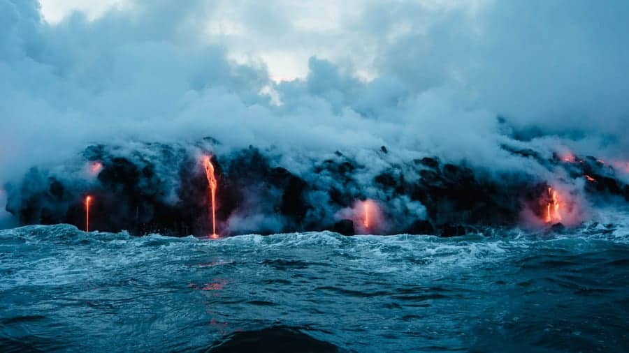 Lava flows into ocean in Hawaii Volcanoes National Park, Big Island