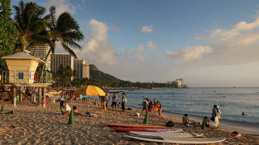 Sunset at Waikiki Beach in Honolulu, Hawaii