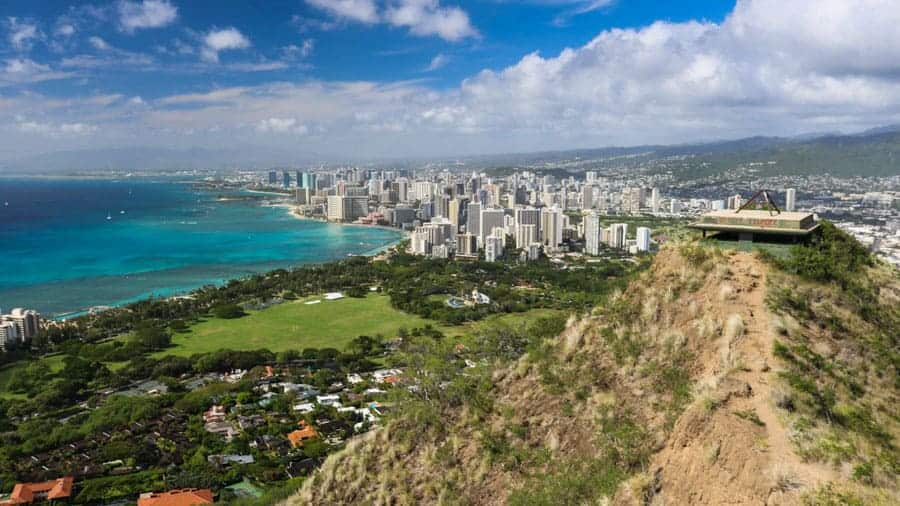 View of Honolulu from Diamond Head Crater, Oahu, Hawaii