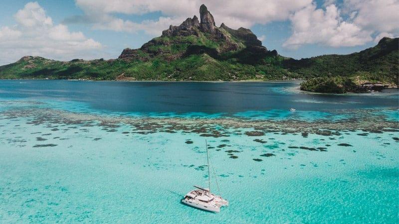 Catamaran sailing in Bora Bora