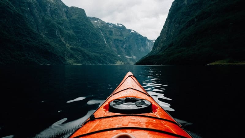 Kayaking in the Sognefjord near Flam, Norway