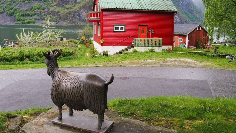 Statue of a goat in Undredal, Norway