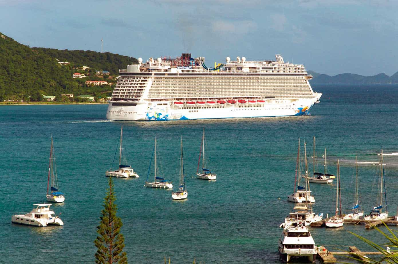 Cruise ship departing the British Virgin Islands.