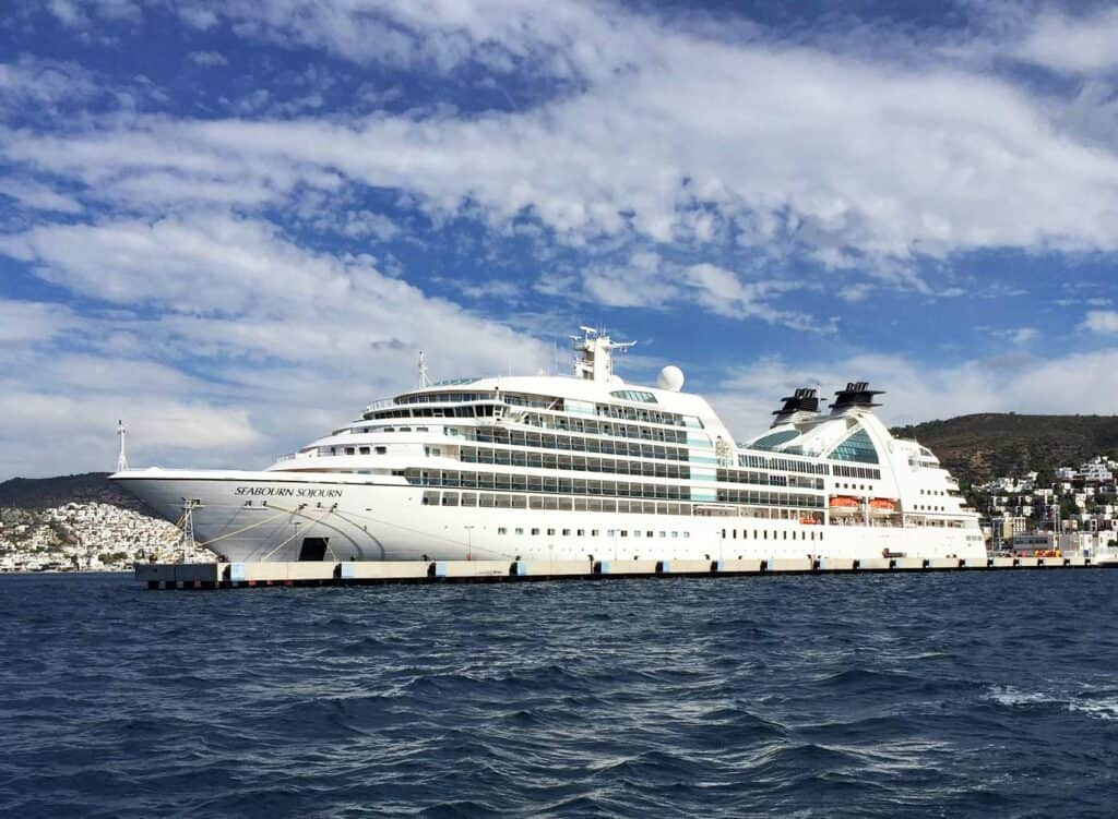 Cruise ship sitting at dock.