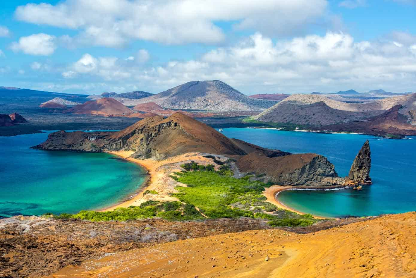 Beaches and elaborate raised geography in the Galapagos Islands.