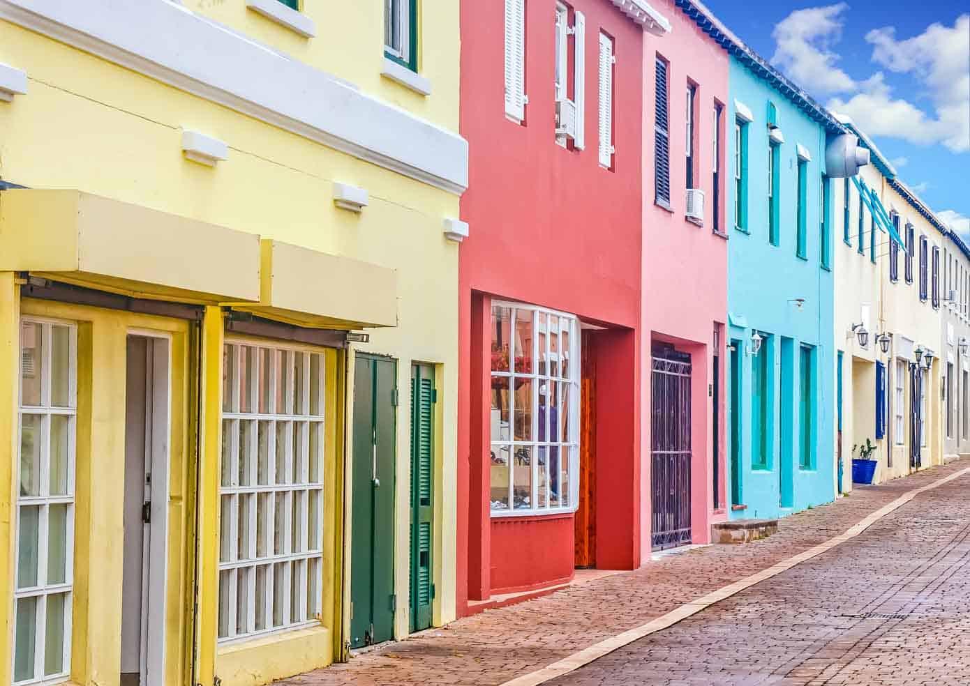 Colorful buildings lining a street in Bermuda.