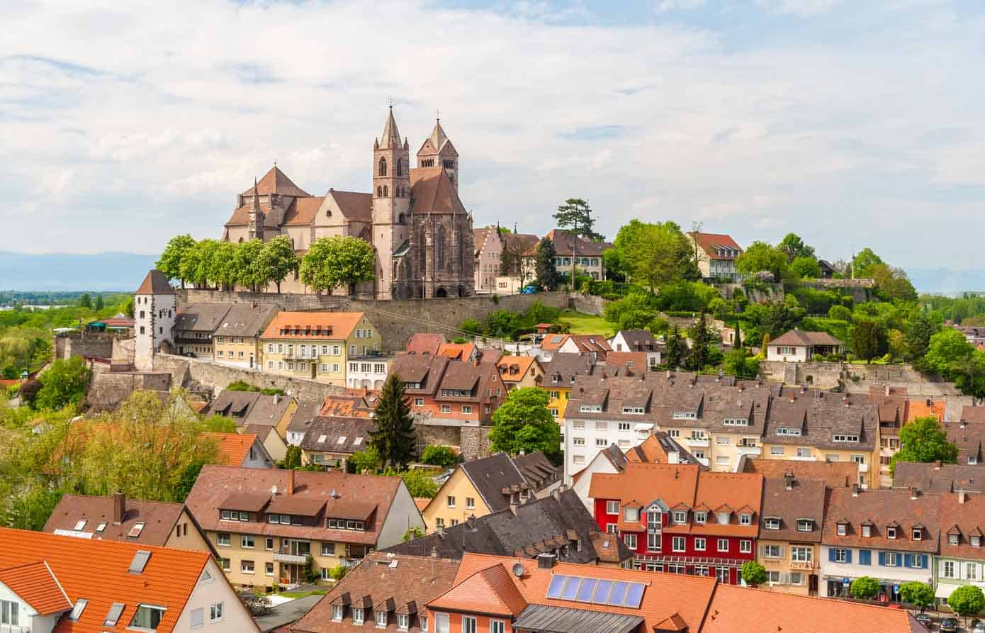 View of old buildings and church in Breisach, Germany.