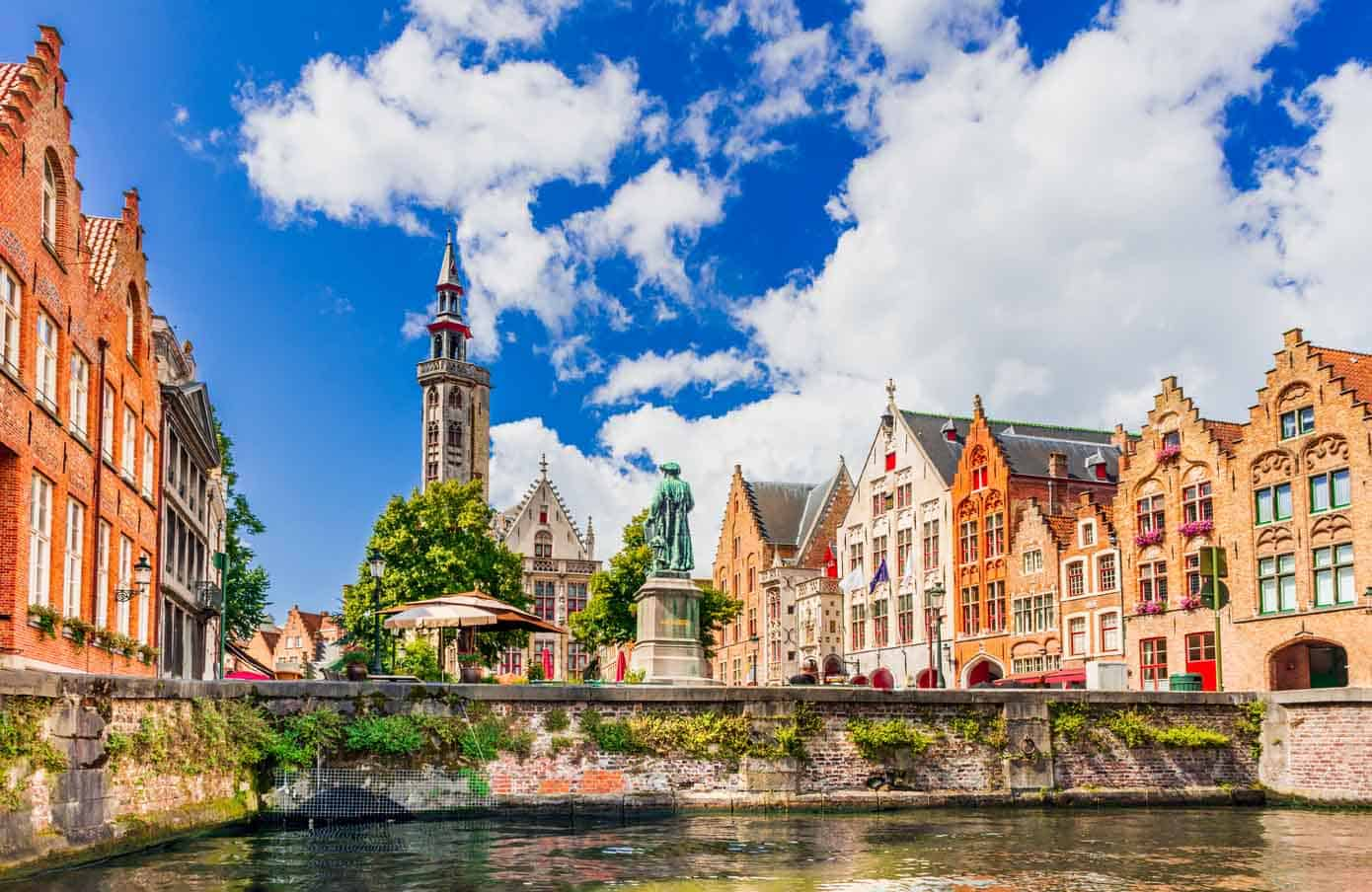 Medieval houses in Belgium on the Bruges canal.