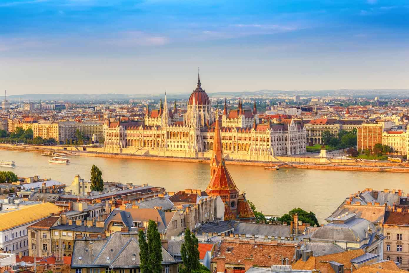 Hungarian Parliament building in Budapest on the Danube River.