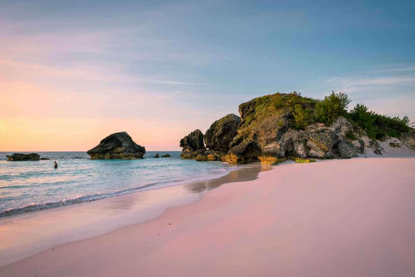 Pink sand beach during sunset in Bermuda.