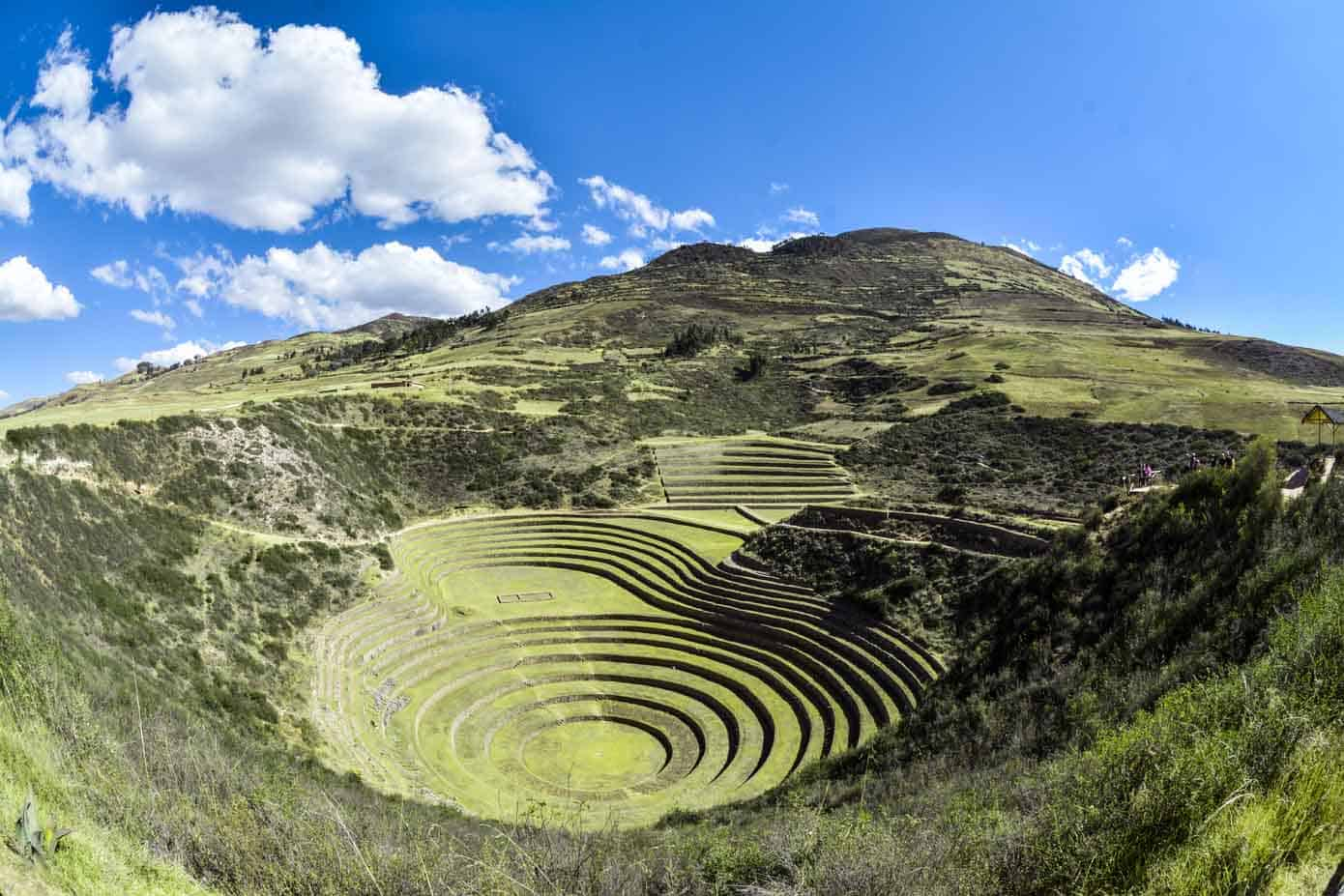 Lush valley with bright blue skies in Peru called Sacred Valley.