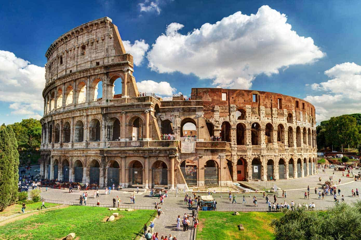 Ancient Roman Colosseum (Coliseum) in Rome, Italy.