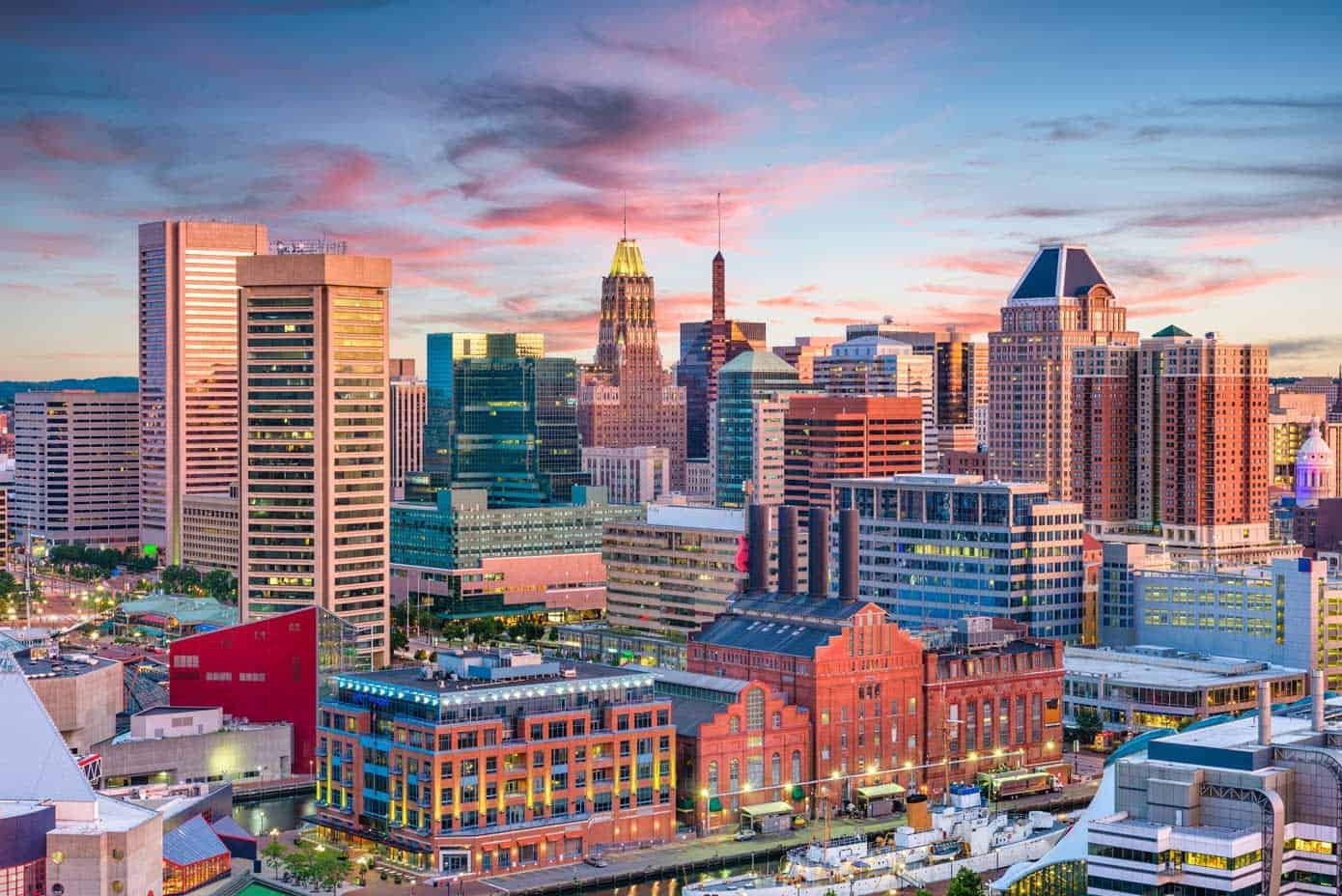 The Baltimore, Maryland city skyline.