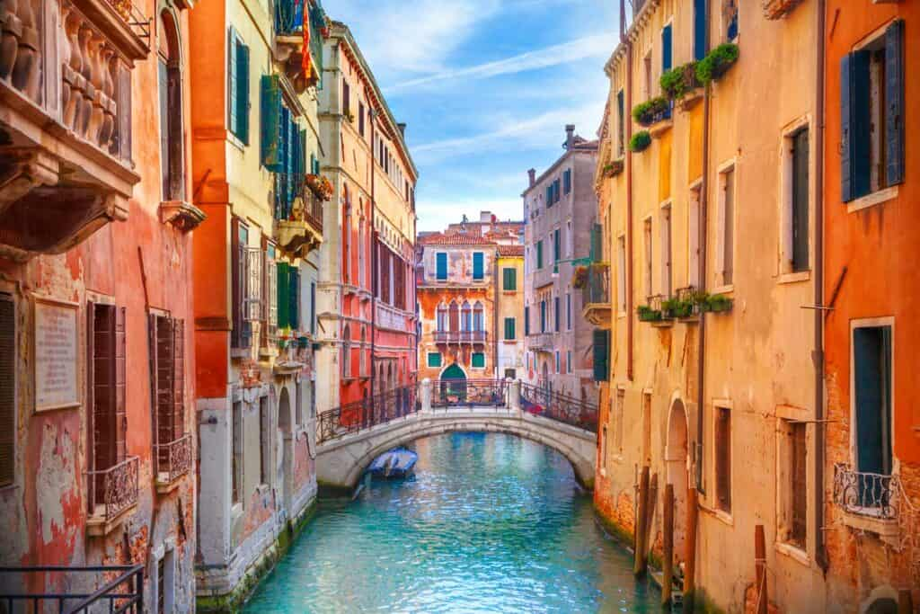 Colorful, romantic canals in Venice, Italy, to explore on the best honeymoon cruises