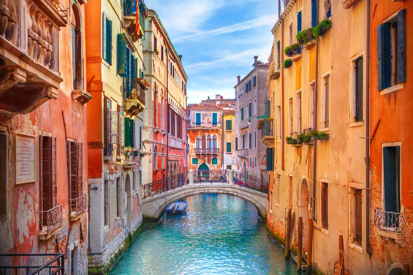 Colorful, romantic canals in Venice, Italy.