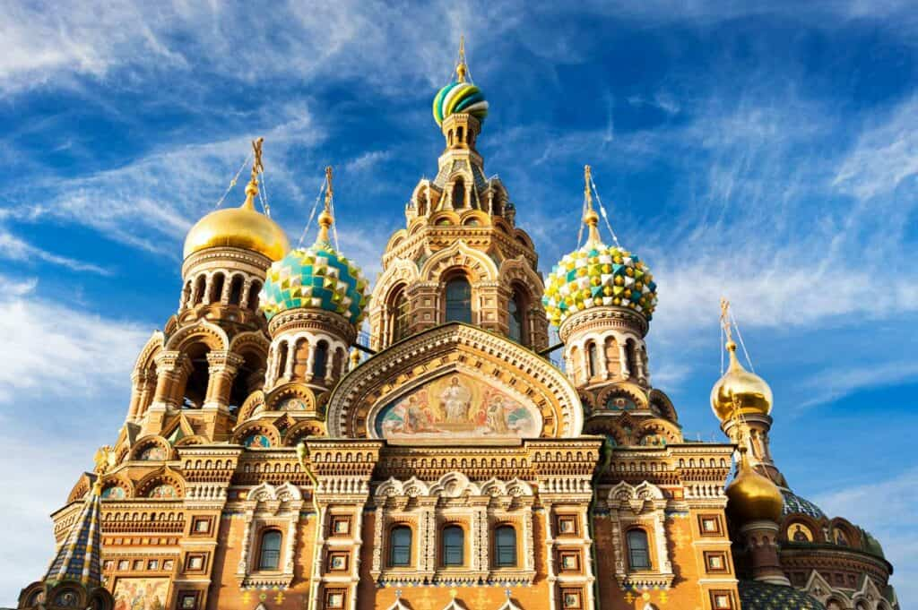 Extremely detailed close up shot of a church in St. Petersburg, Russia called the Church of Resurrection of Christ.