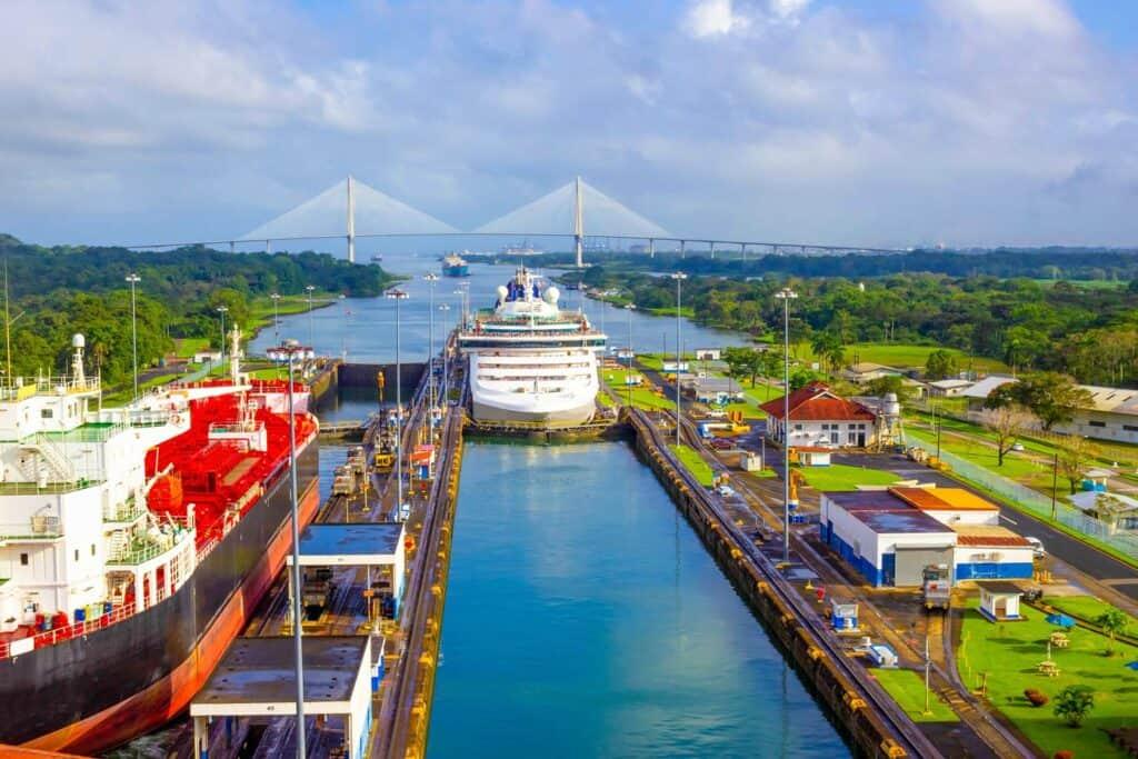 A cruise ship transiting the Panama Canal.