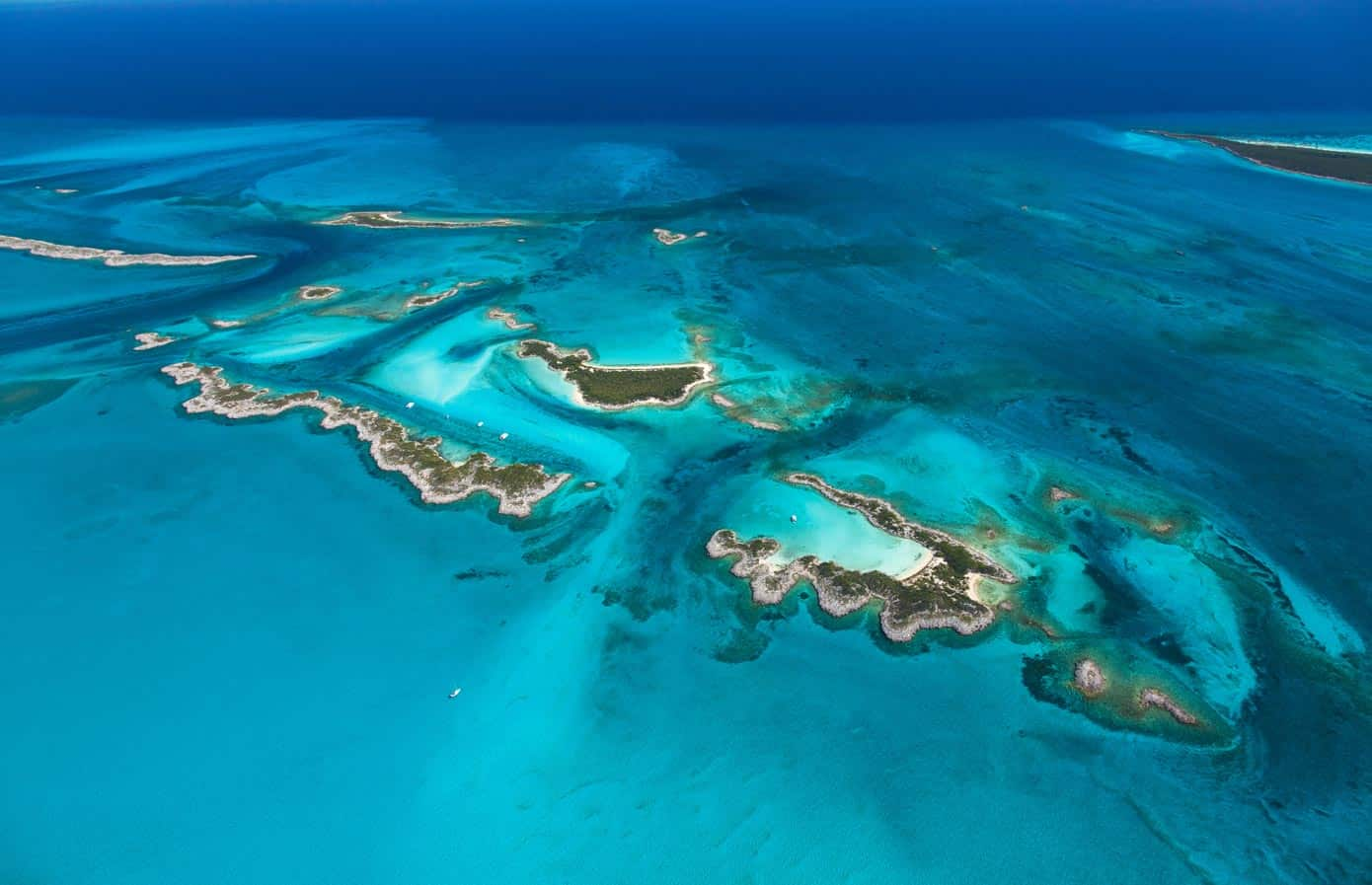 Aerial view of stunning beaches, islands, and ocean in the Bahamas.