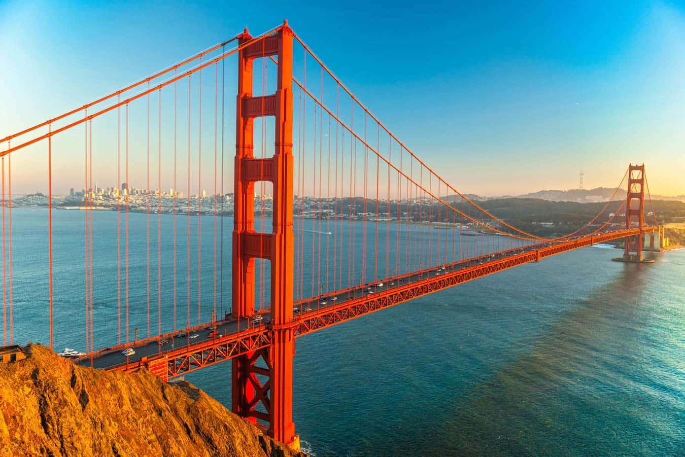 The Golden Gate bridge during sunset over San Francisco, California.