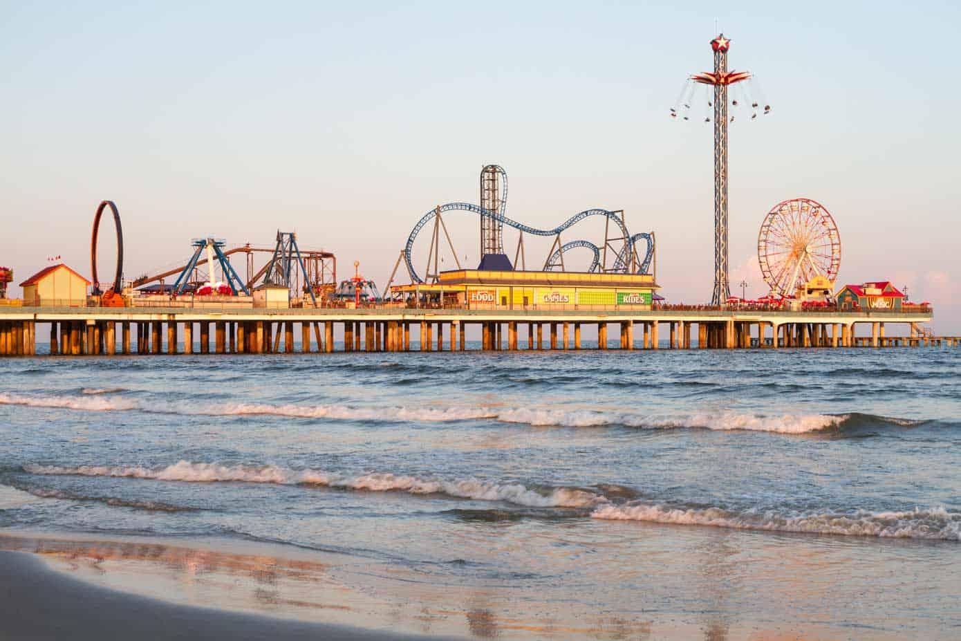 The historic Pleasure Pier Boardwalk in Galveston, Texas.