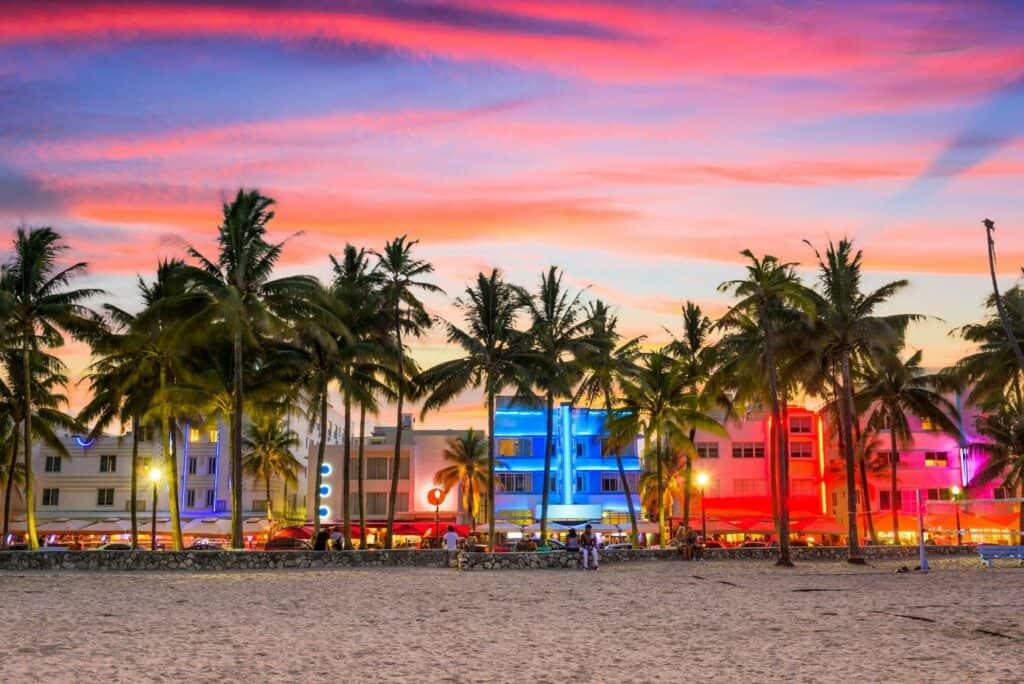 Beautiful neon building facades on Miami Beach, Florida.