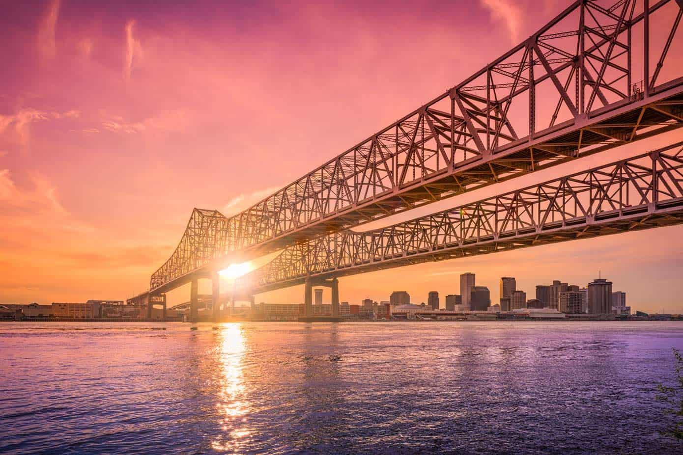The Crescent City Connection bridge in New Orleans, LA.