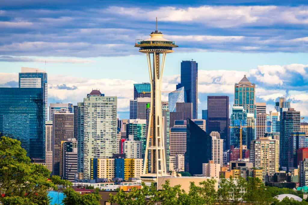Seattle Space Needle and skyline in Washington, USA.