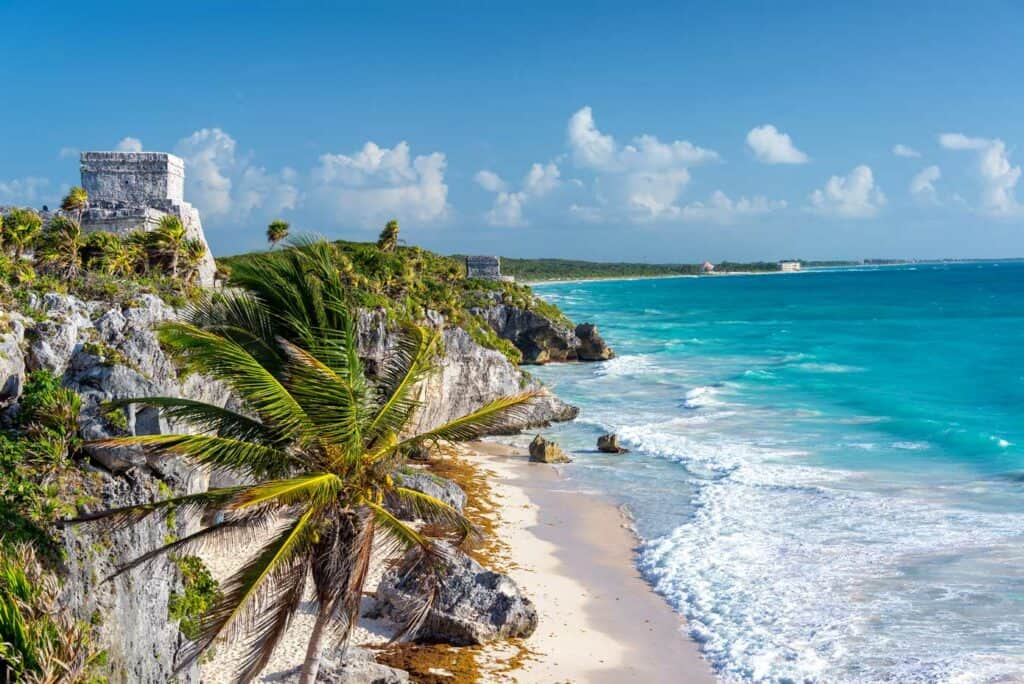The Tulum Ruins in the Mexican Riviera in Mexico.