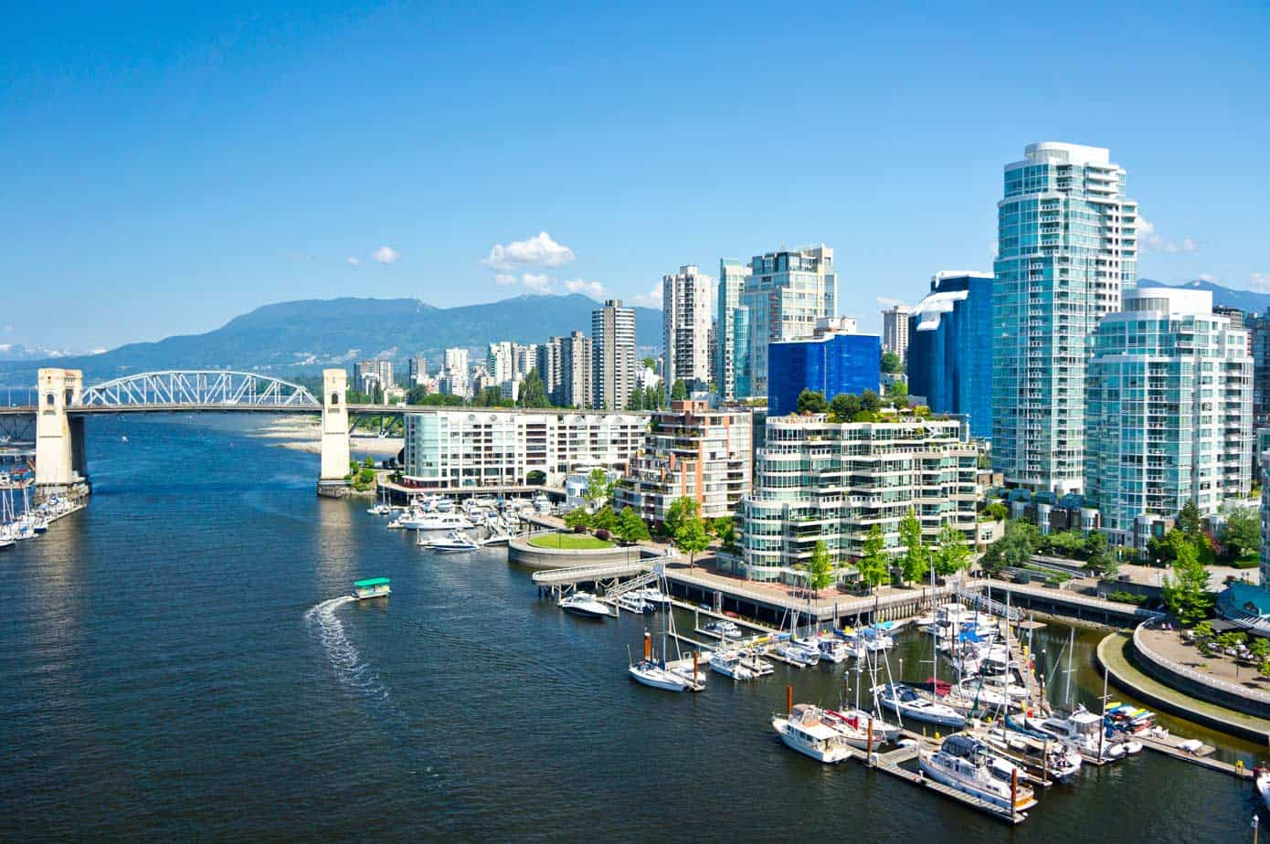 Beautiful view of the Vancouver skyline in British Columbia, Canada.