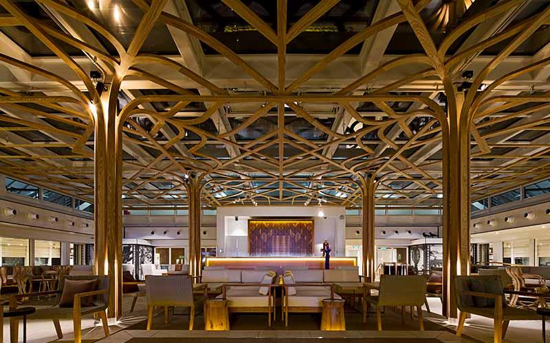 elaborate wooden interior of cruise ship.