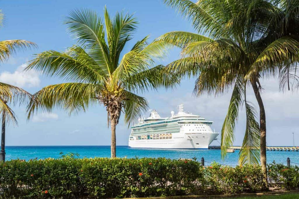 A cruise ship is docked off shore behind palm trees in a tropical place.